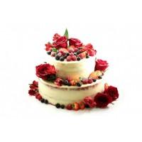 Открытый свадебный торт с красными розами